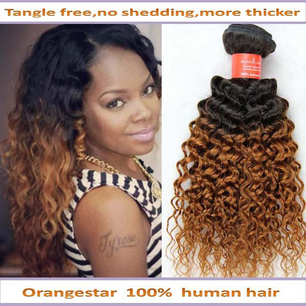 brazilian ombre curly hair extension two tone human remy hair weave 1bOmbre Brazilian Curly Weave