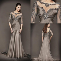 formal gowns - 2015 Backless Mermaid Evening Dresses Formal Gowns With Long Sleeves Jewel Transparent Neckline Beading Crystal Lace Prom Detachable Train