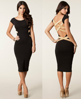 Wholesale S M L XL XXL Plus Size New European Fashion Women Sexy Knee Length Criss Cross Back Bodycon Party Dress Bandage Dress