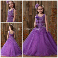 Wholesale Scoop Ball gown Purple Long beads crystal Fashion Flower girl dress Plus size Party wedding Pageant dress