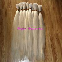 Cheap bulk hair: 18''-30'' virgin 100% malaysian human hair bulk ,3 pieces  lot ,blond color 613# silky straight AAAAA quality free shipping