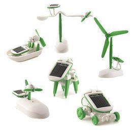 6 IN 1 Solar Power Car Dog Airboat AirPlane Robot DIY Educational Toy Kit 30pcs lot