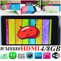 Wholesale JW inch Multi color WM8880 Q88 Dual Core WM A20 Jelly bean Android Tablets GB G HDMI WIFI tablet pc Dual Camera Built in flash