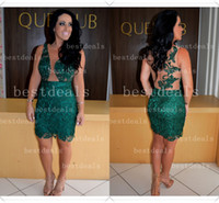 Wholesale 2014 vestidos formales Sexy Deep V Neck Lace See Through Sheer backless Short Prom Dresses homecoming cocktail dresses Evening Gowns BO3592