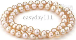 fine natural round 8-9mm south sea pink pearl necklace 16-20inch