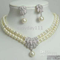 Wholesale Fancy Jewellery Silve natural south sea mm white pearl neclace earring