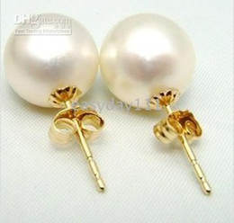 real 9-10mm south sea natural white pearl earring 14k