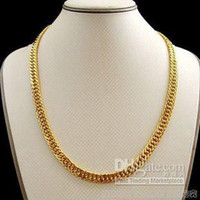 Wholesale Real Solid K Yellow Gold necklace Curb chain
