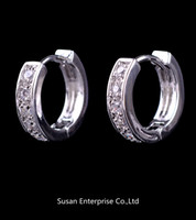 Wholesale 2013 fanshion earrings jewelry for lady s K Gold Plated Cubic Zirconia Hoop Earrings