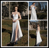 Wholesale Inbal Dror Spaghetti Strap Sweetheart White Chiffon Long Summer Beach Wedding Dresses Front Slit Lace Backless Floor Length Bridal Gowns