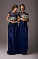 Cheap 2014 Elegant Cheap Bridesmaid Dresses Dress Formal Gowns Chiffon Royal Blue Short Sleeves Ruffles Lace Long Backless Pageant Evening Dresses
