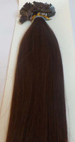 "Indian Hair chestnut brown Straight 20"" Flat Tip Keratin Human Hair Extensions Indian Remy 6# chestnut brown color 1g s 100g 100s pack AAA Grade Free shipping"