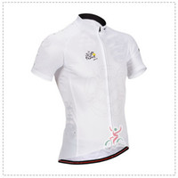 Short Anti UV Men 2014 TOUR DE FRANCE WHITE ONLY Short Sleeve Cycling Jersey Bicycle Wear Size XS-4XL T03