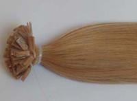 "black straight 1.0g Flat Tip Keratin Hair Extensions 100% Human Indian Remy hair 20"" 50cm 22# light ash blonde clour 1g s 100g 100s pack Free shipping"