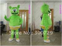 Wholesale gummy bear mascot costumes green cute bear costumes famous cartoon costume for party