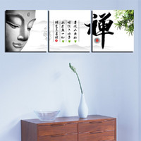 More Panel Fashion Landscape 3 Panel Modern Painting Home Decorative Art Picture Paint on Canvas Prints Figure of Buddha and Chinese characters:Buddhist