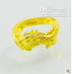 Wonderful yellow gold filled men's dragon ring