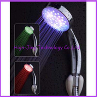 Wholesale 3 Color LED Light Shower Head Water Temperature control flashing bathroom shower heads