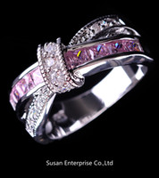Wholesale Jewelry Brand New pink sapphire lady s KT white Gold Filled Ring sz6