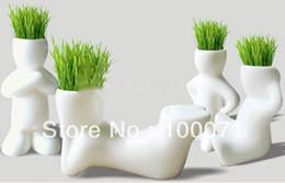 Wholesale 2Pcs Creative Ceramic Magic Grass Garden Table Planting Baby Plants Porcelain Toy Pot