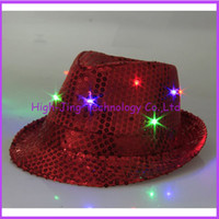 Wholesale New arrival Fashion colorful LED Light Hat Party Hats Boys and Cap Baseball Caps Fashion Luminous jazz hat free ship