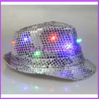 Wholesale Led jazz hat led party hats with star light colorful hip hop hats for party flashing hat