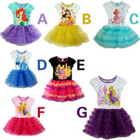 Wholesale 2014 New Arrival Frozen Girl Dress Girl Dresses Baby Dress Princess Skirt Lace Flower Tutu Dress Girl Party Dresses Cartoon Printing Dress