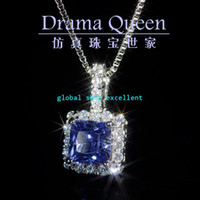 Wholesale micro setting jewelry rhodium square Class A artificial synthetic Tanzanite Tanzanite Sapphire Pendant Necklace