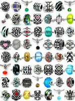 Wholesale Mixed Style Silver Rhinestone Resin Crystal Glass Clay Alloy Charm Loose Beads Silver Plated Fit Pandora European style DIY Braceles