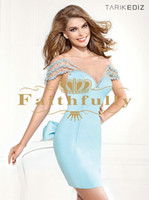 Wholesale Sexy Light Sky Blue Beaded Backless Formal Cocktail Dresses Scoop Neck with Short Sleeves Short Party Prom Gowns Ruched Tarik Ediz