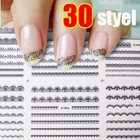 Wholesale Super Sheet Lace D Nail Art Sticker Black Flowers Decal Manicure French Style Mix Flower