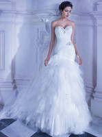Cheap 2014 Demetrios 553 Mermaid Wedding Dresses Sweetheart Crystal Beaded Sequin Cascading Ruffles Tulle Bridal Dresses Lace Up Back Bridal Gowns