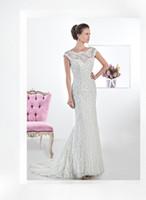 Cheap 2014 Demetrios 1457 Lace Wedding Dresses Transparent Bateau Mermaid Brown Ribbon Belt Pleated Bridal Dresses Court Train Bridal Gowns
