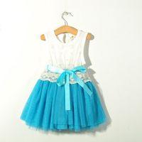 embroidered chiffon lace - 10000pcs Girl Dress Baby Dress Lace Flower Tutu Dress Sleeveless Kids Embroidered Party Dresses Layer Chiffon And Cotton Lining With Bel