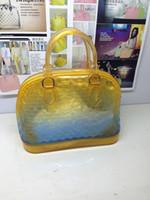 silicone handbags - 2015 new fashion women handbags gradient color luxury bags shell tote bag silicone Handbag with fading effect shoulder bag