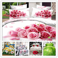 Cheap 6PCS Free shipping 100% cotton 3D Flower printed with Queen size King size 3d bed linen 3d