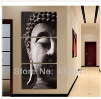 Abstract Yes No Hand Painted Religion Buddha Head Oil Painting Modern Abstract Wall Art Home Living Room Decor 3 Panel Piece Canvas Picture Set