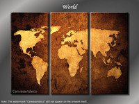 "Cheap Framed Huge 3 Panel Modern Canvas Art ""World Map"""