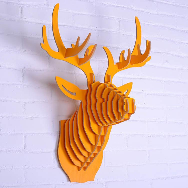 Wooden Animal Head Wall Hanging,Deer Head Wall Decoration,Wooden