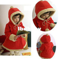 Cheap Wholesale - free shipping Children's clothing christmas female child red with a hood thickening outerwear female child overcoat