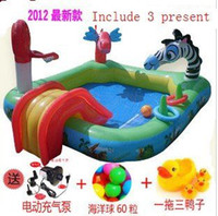 Cheap Lovely animal swimming pool for children, pleasure area fun pool for kids paddling pools with pump+present+free shipping