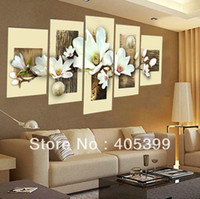 Wholesale Thick Texture Real Hand Painted Modern Flower Oil Paintings The pc Set Painting Group Oil Painting Love Art JYJHS017
