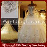 Wholesale Luxury Real Image High Quality Ball Gown Wedding Dresses A Line Sweetheart Bling Bling Stones Crystals Bridal Gowns Long Train Lace Applique