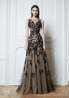 Cheap 2014 Sexy zuhair murad Crew Neck Prom Dresses Lace Black Tulle Nude color Chiffon Floor-Length Evening Dresses Celebrity Dresses