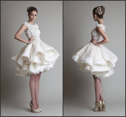 Wholesale 2014 Krikor Jabotian Design Knee length Lace Appliqued See Through Top Layer Ruffle Organza Little White Short Wedding Dresses
