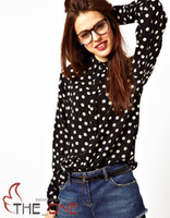 Wholesale white polka dot black print tencel cotton female shirt ol popper dot long sleeve shirt femininas camisa party clothes EMS FREE TO AUS