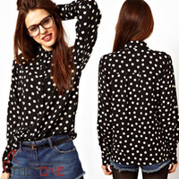 Wholesale white polka dot black print tencel cotton female shirt ol popper dot long sleeve shirt femininas camisa party clothes EMS FREE