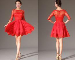 elie saab Elegant A-Line Bateau Neck Half Sleeves Lace Short Chiffon Cocktail Party Dresses DL2000763