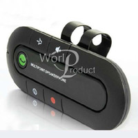 Wholesale Bluetooth Wireless Speakerphone Car Kit Can Connect two phones Handsfree with Car Charger black blue red