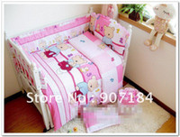 Cheap PROMOTION branded 100% cotton 10 pieces baby bedding set for babyl environment-friendly printing free shipping